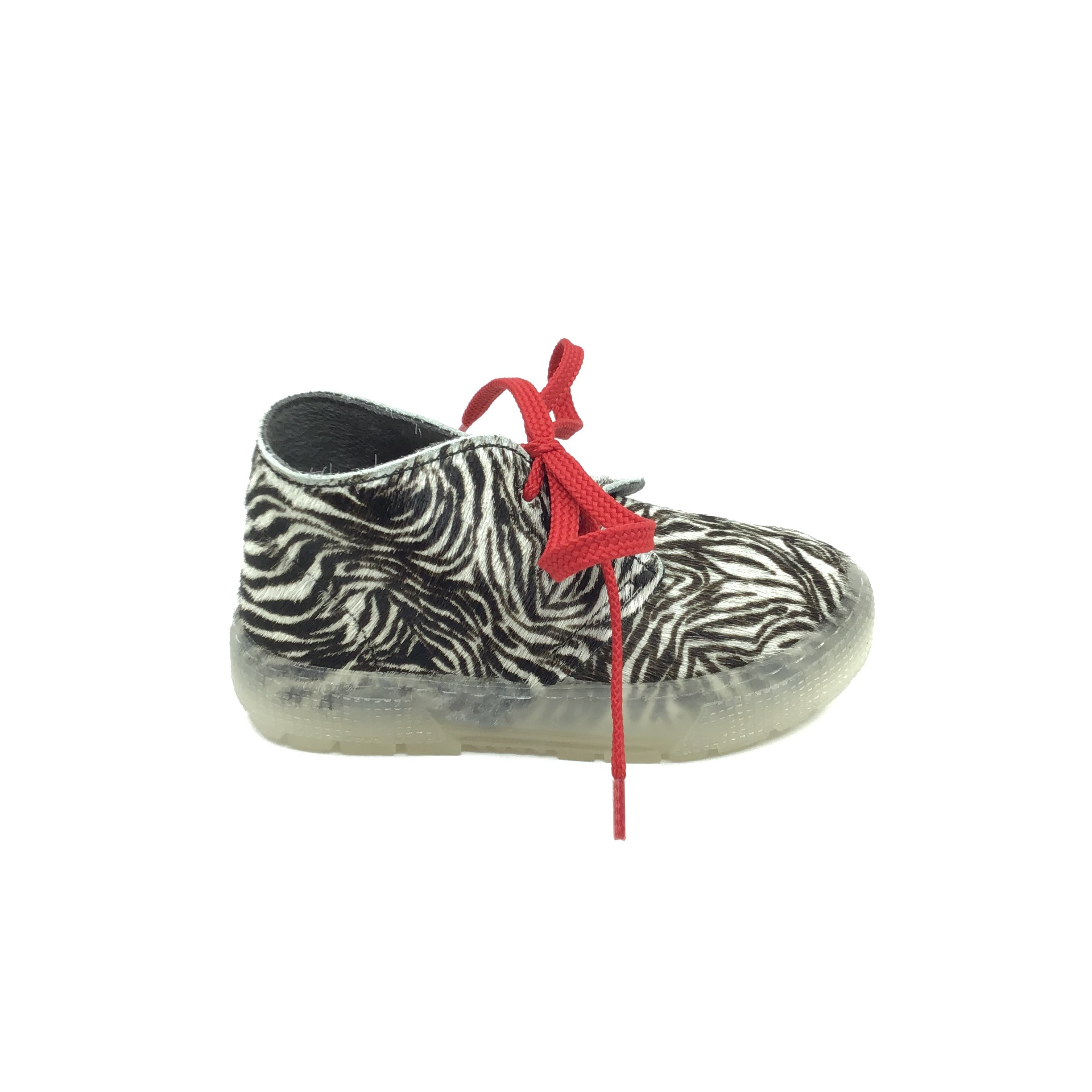 Zebra Sneaker with Red Laces