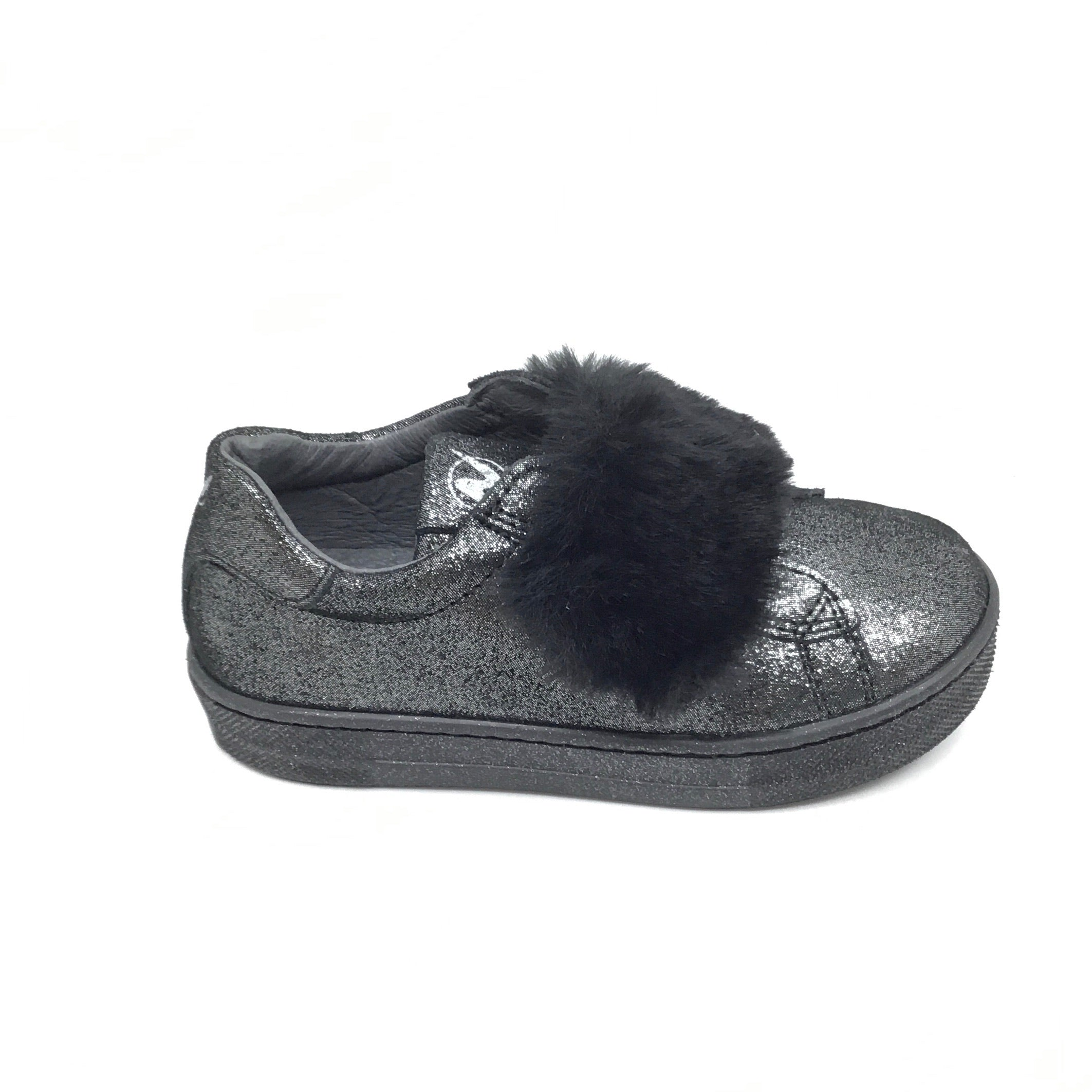 Naturino Black Sparkle Shoe with Fur Velcro