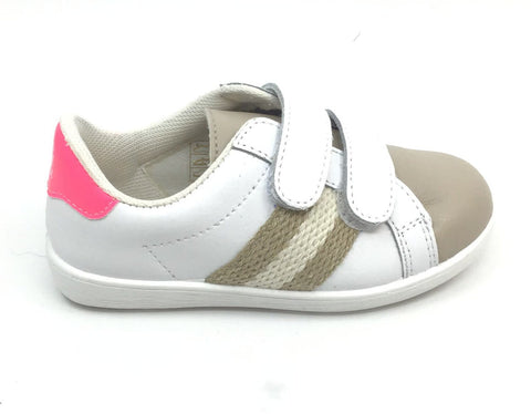 Eli Soft Beige Sneaker with Pink Trim