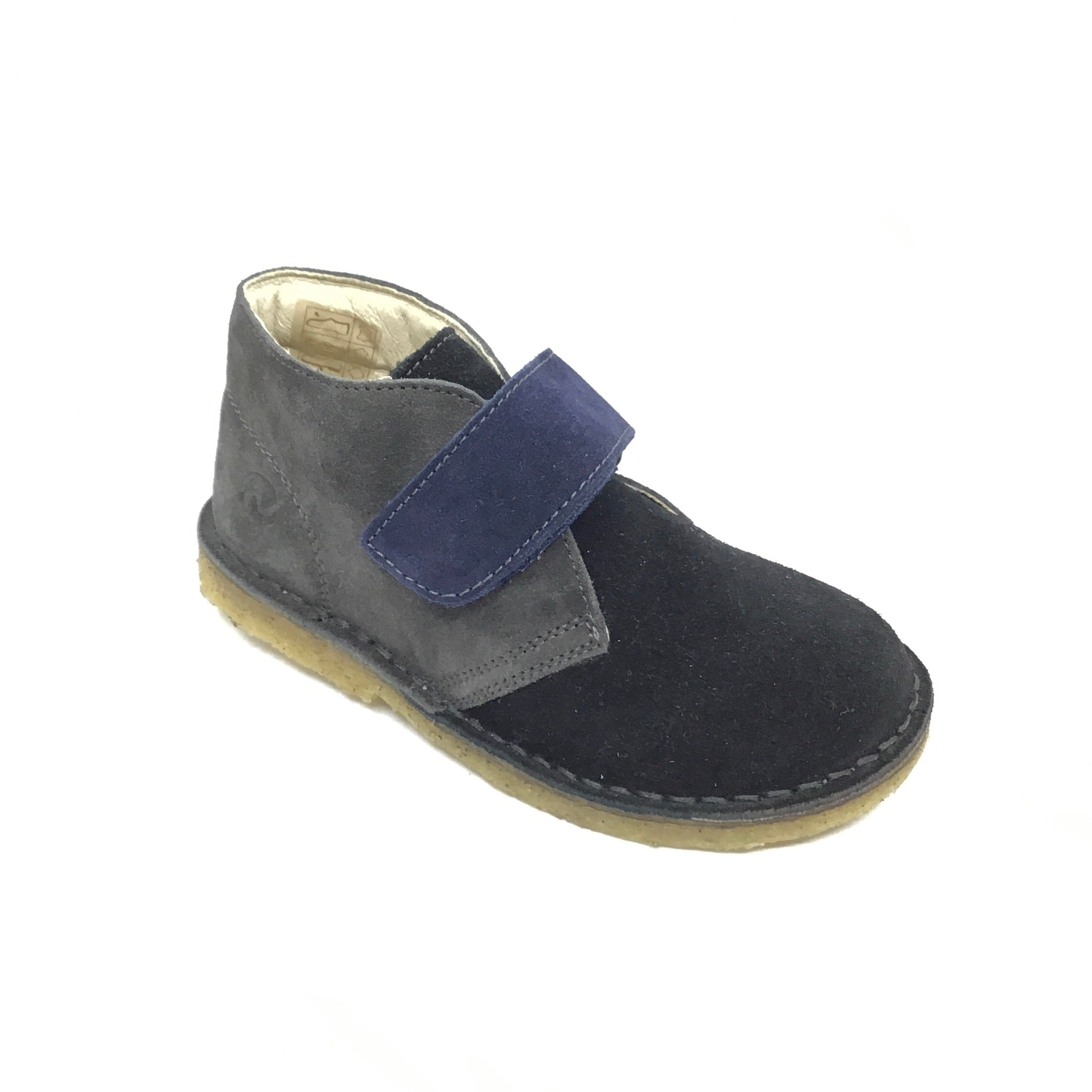 Naturino Gray and Black Suede Velcro Shoe