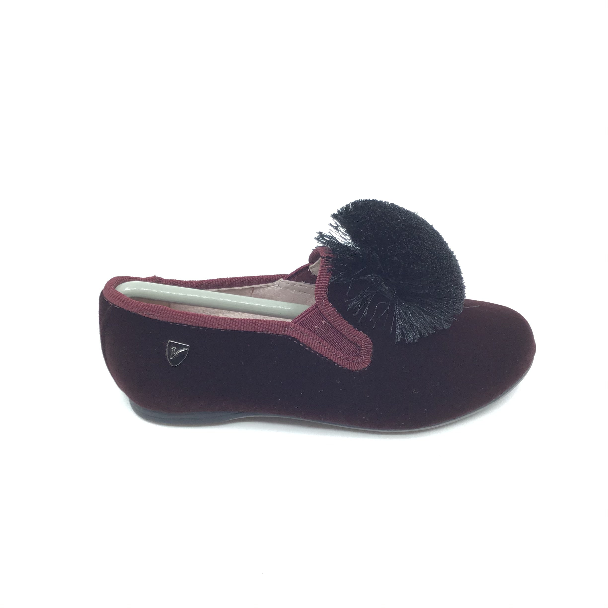 Venettini Bordeaux Velvet Slip On with Pom Pom