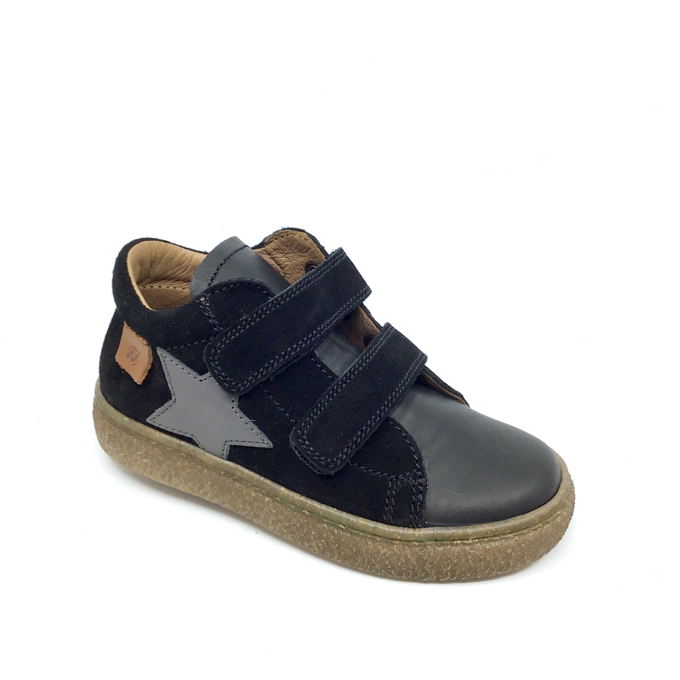 Naturino Velcro Black Sneaker with Gray Star