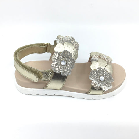Naturino Gold Sandal with Flowers