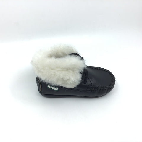 Fascani Black Bootie with White Fur
