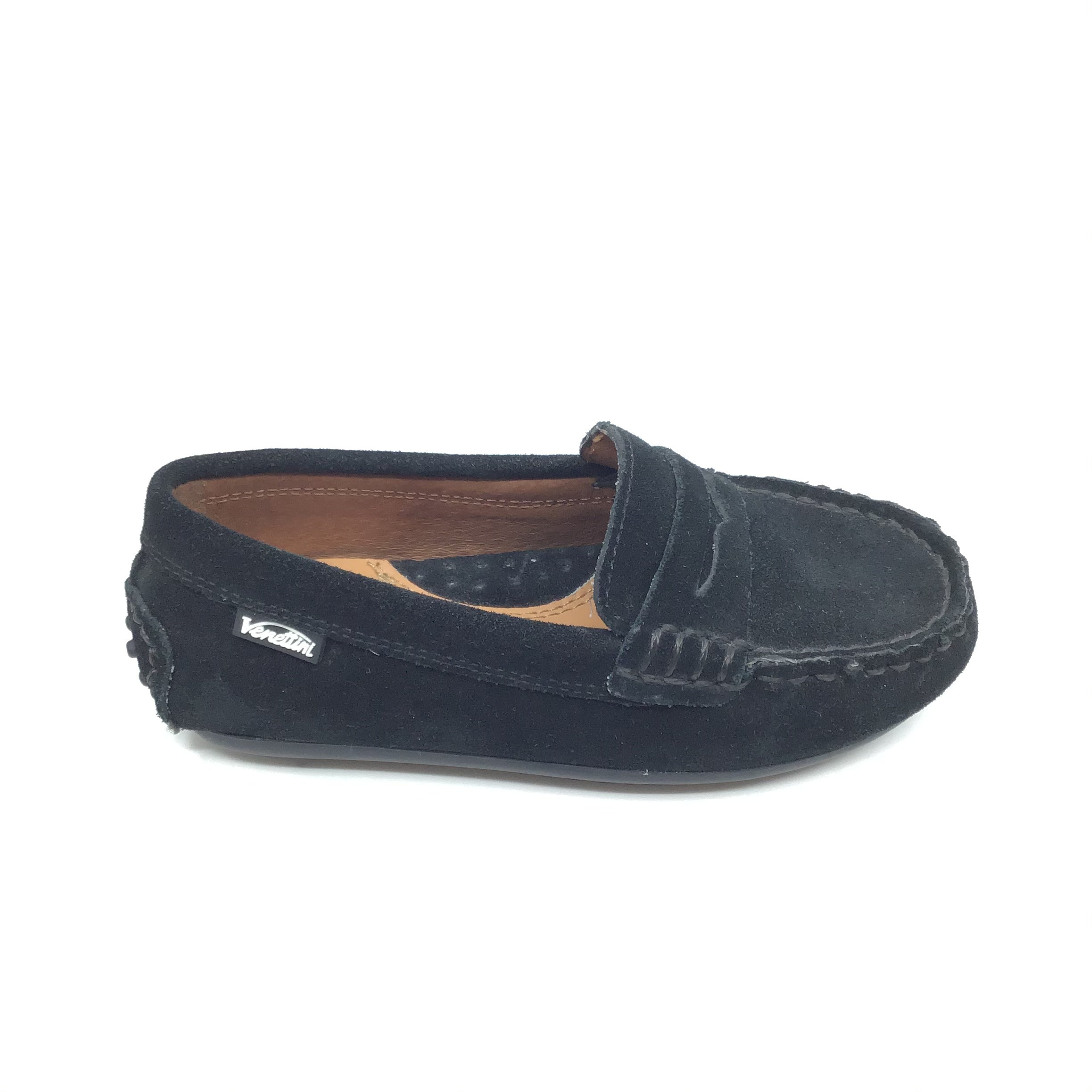 Venettini Black Suede Penny Loafer