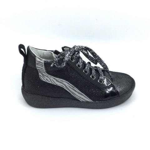 Naturino Black Sneaker with Silver Zebra Stripe