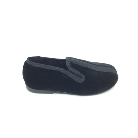 Luccini Black Velvet Slip On with Black Grossgrain Center