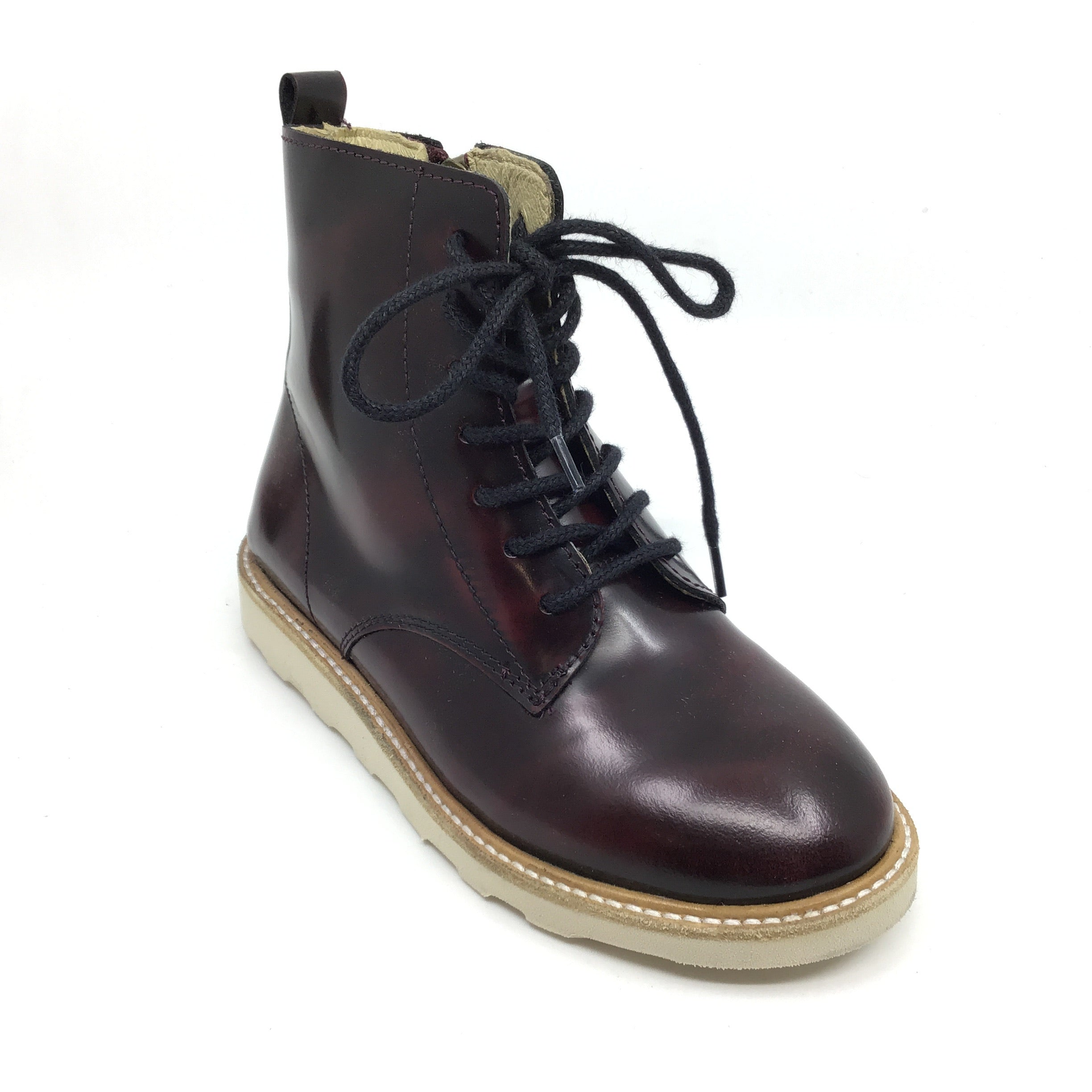 Young Soles Burgundy Hi Shine Boot