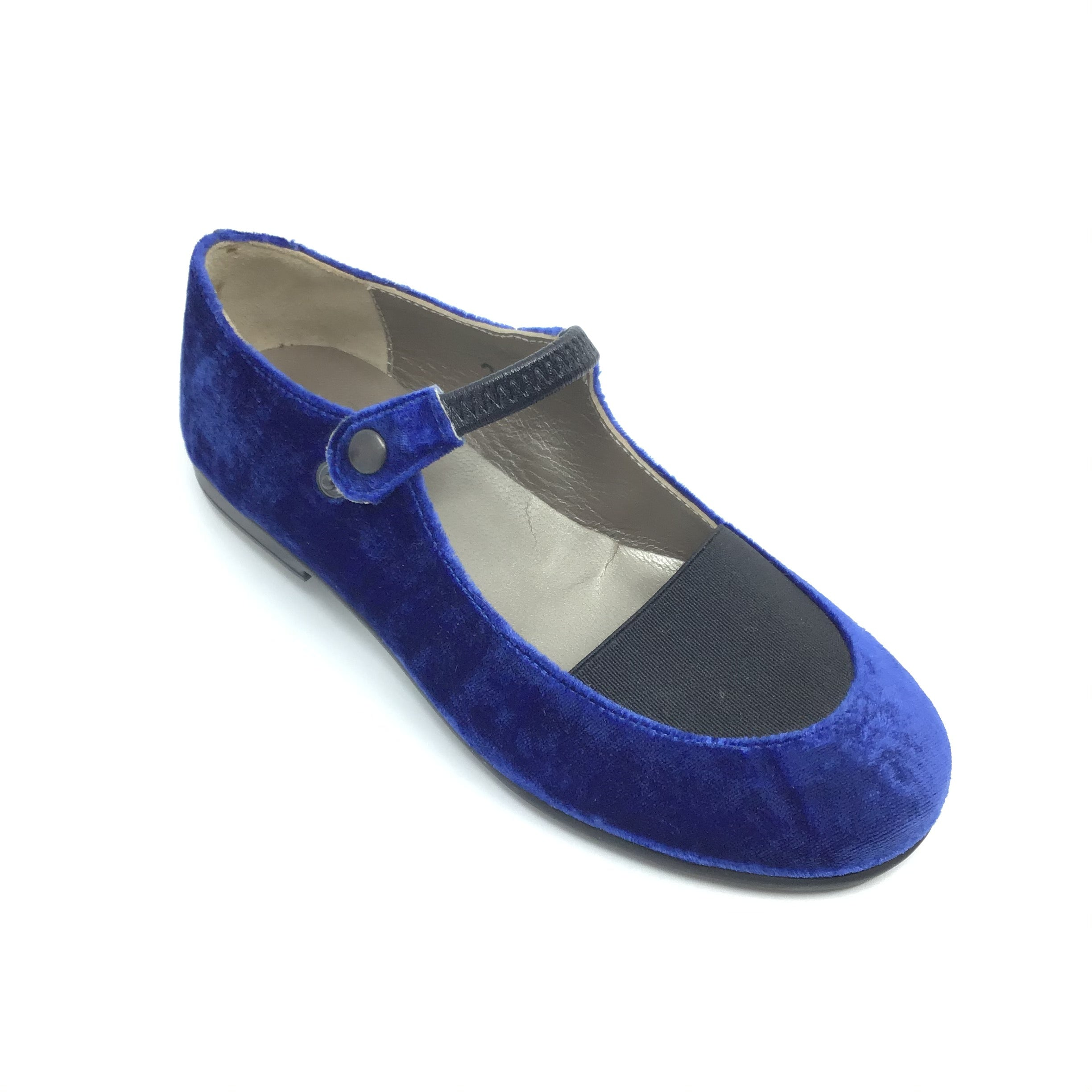 Blue Velvet Mary Jane with Strap