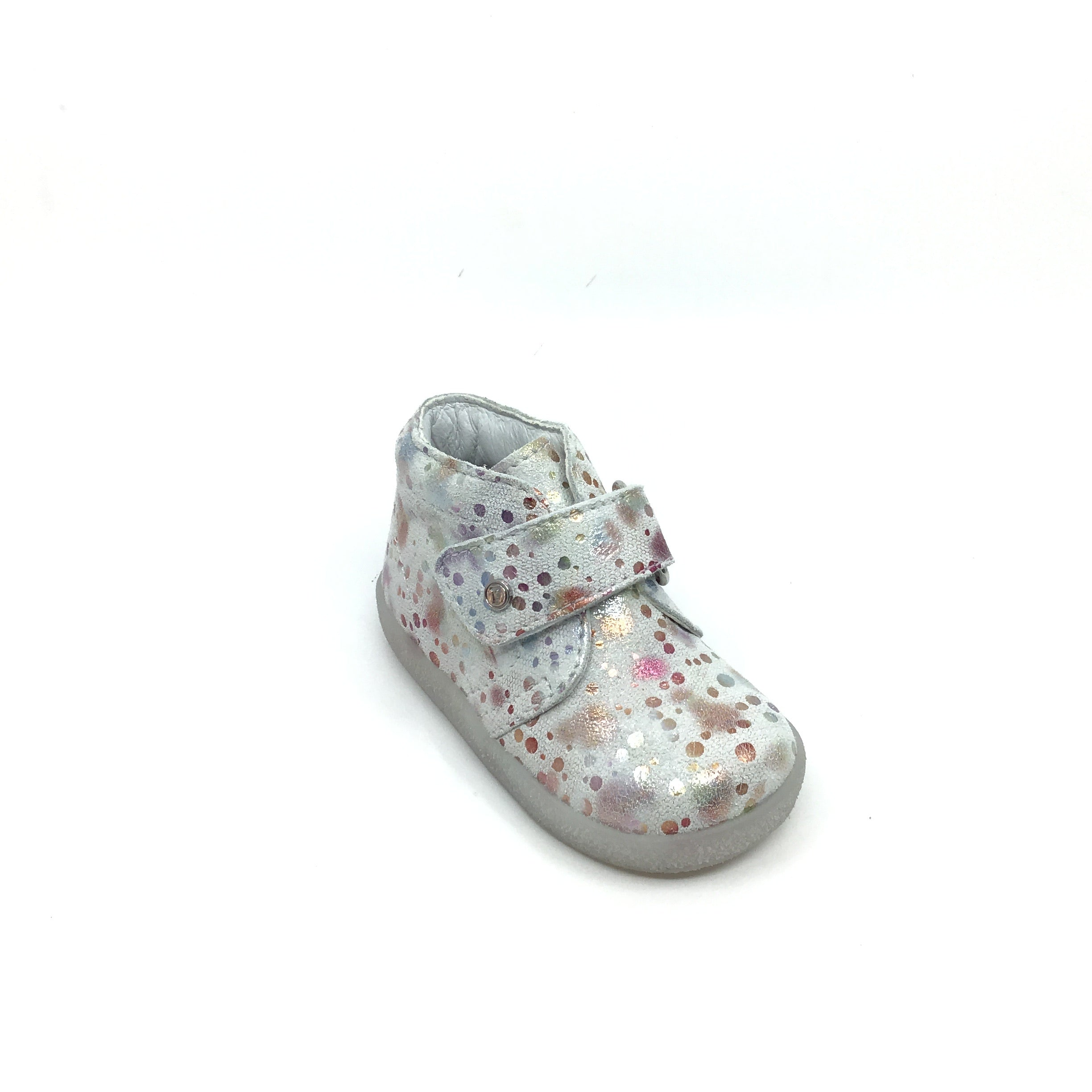 Falcotto White Velcro High Top With Multi Color Pattern