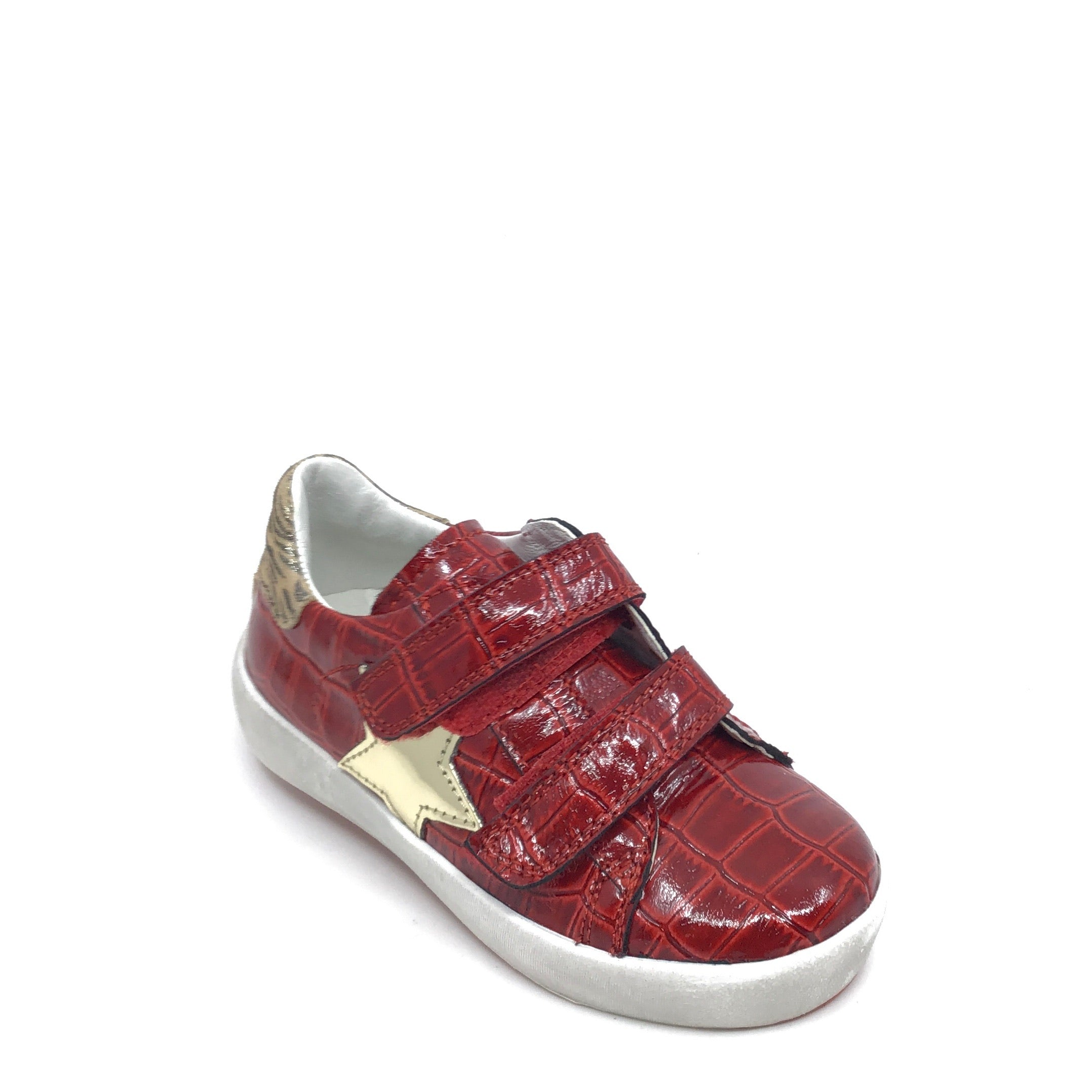 Naturino Red Alligator Skin Velcro Sneaker