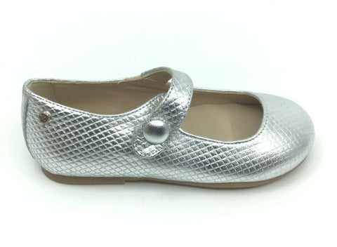 Manuela Silver Textured Mary Jane