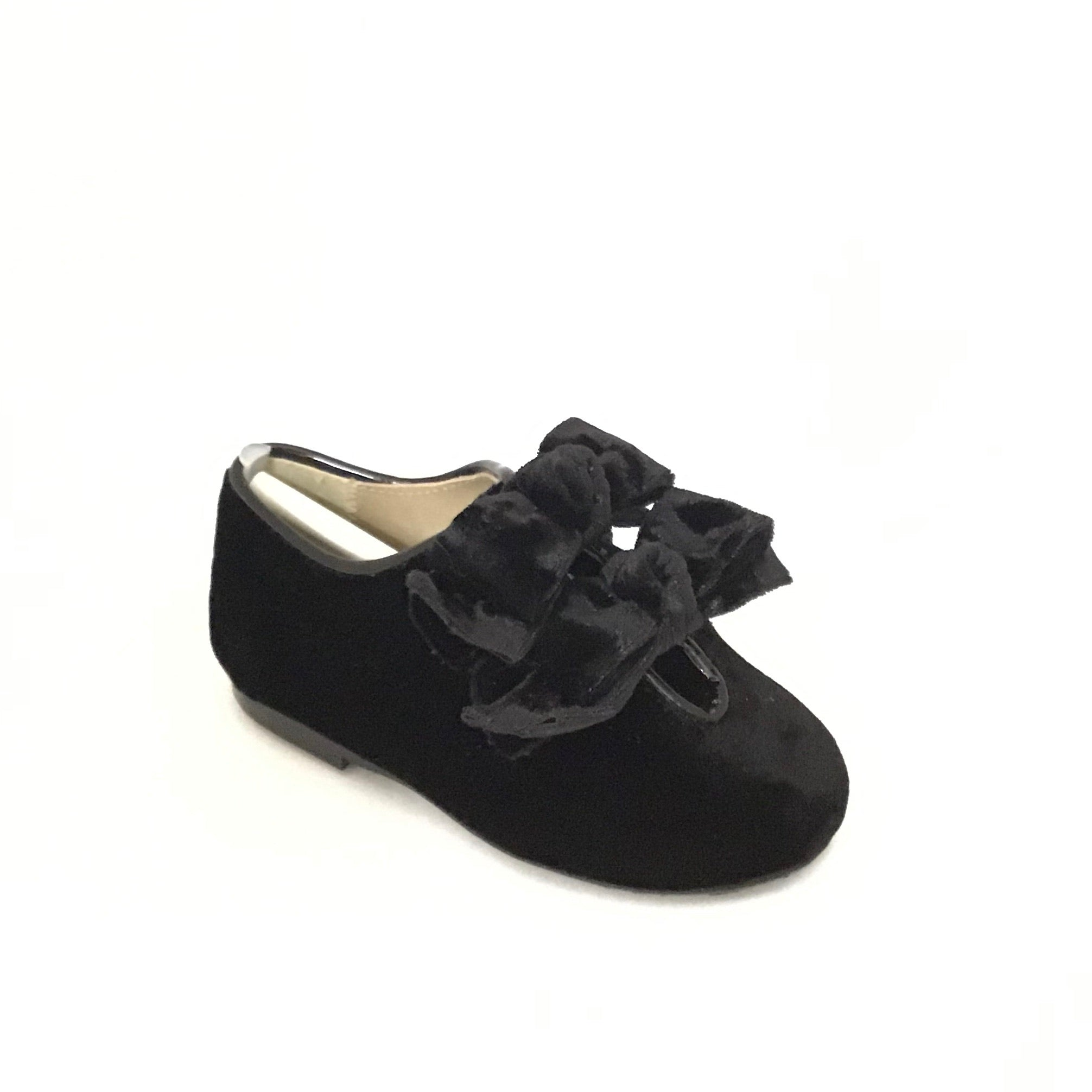 Papanatas Black Velvet Slip On with Double Bow