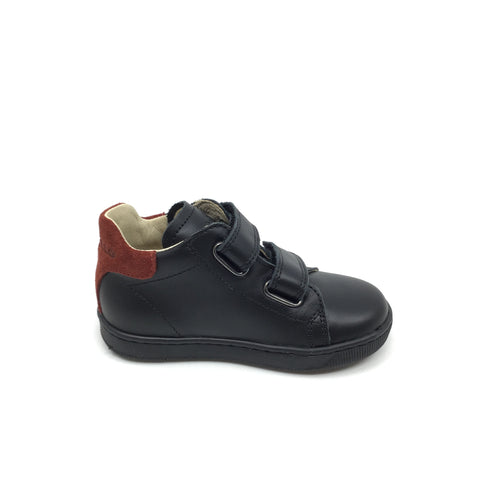 Falcotto Double Velcro Black Sneaker with Rust Trim
