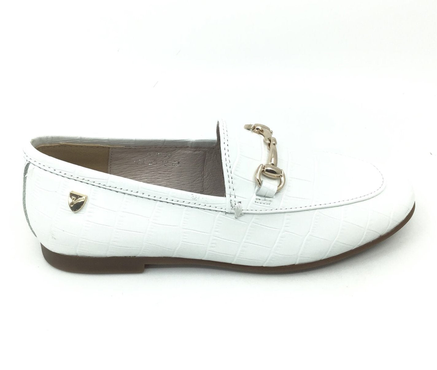 Venettini White Crocodile Skin Loafer with Chain