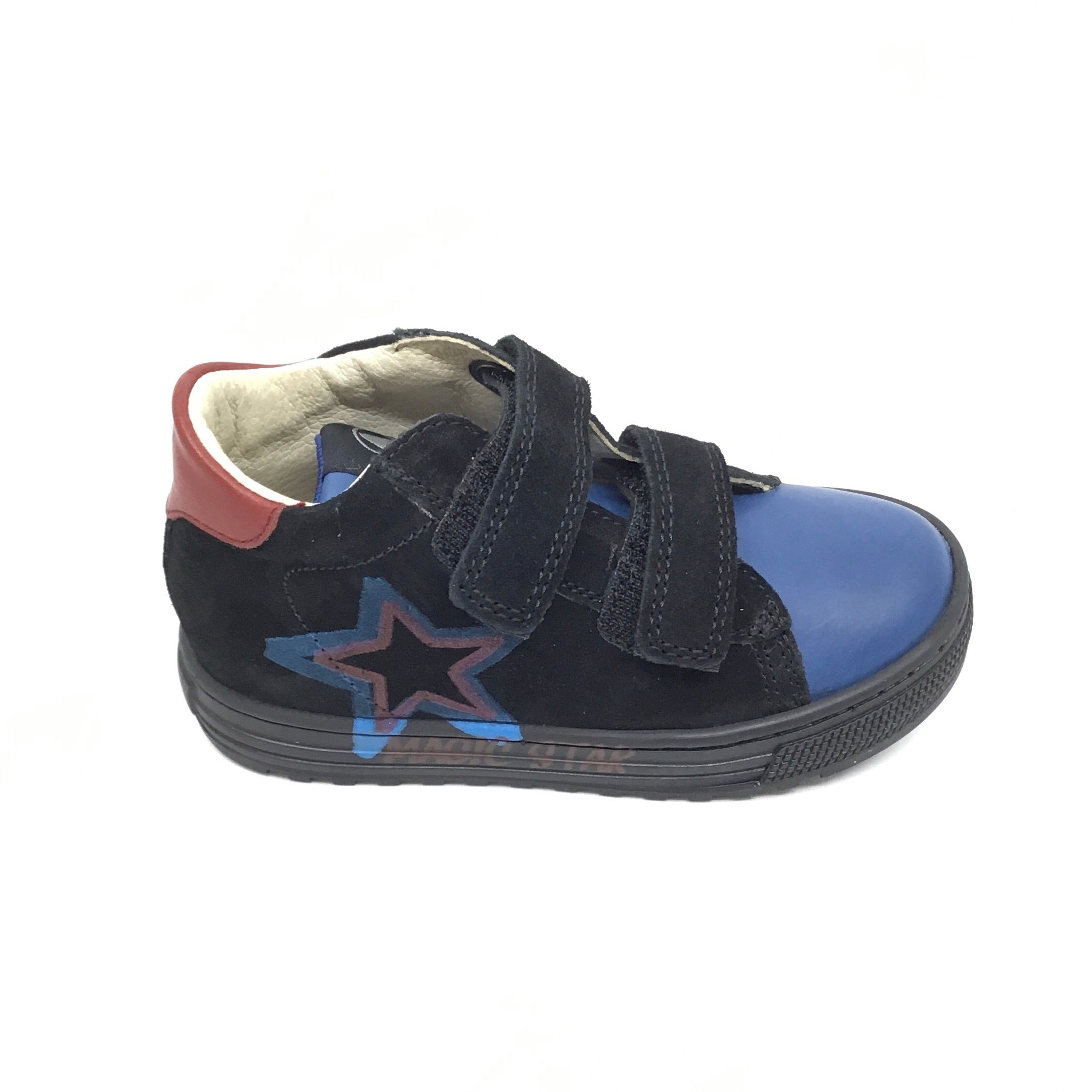 Naturino Black Sneaker with Blue Star Trim