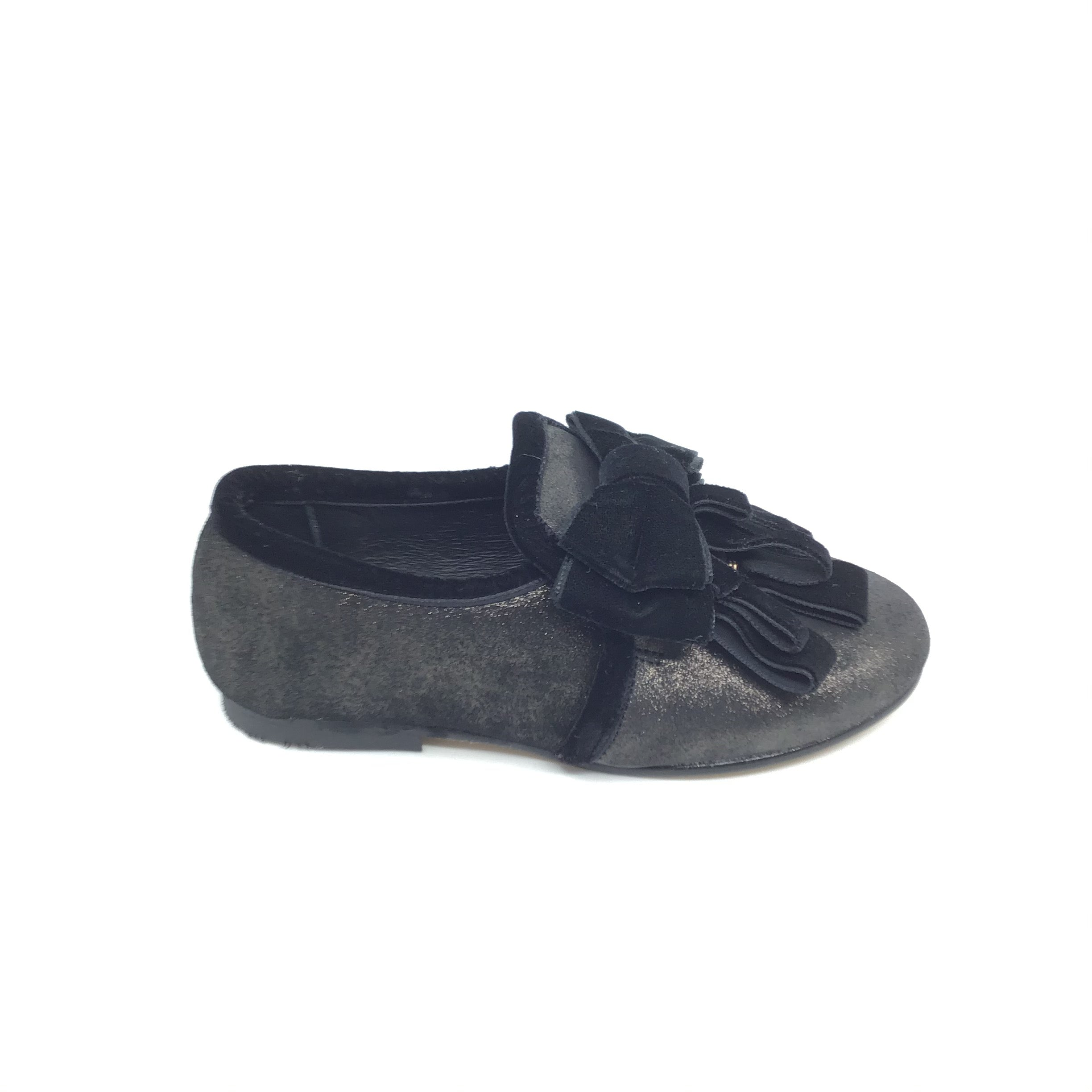 Luccini Gray Slip On with Black Velvet Bow