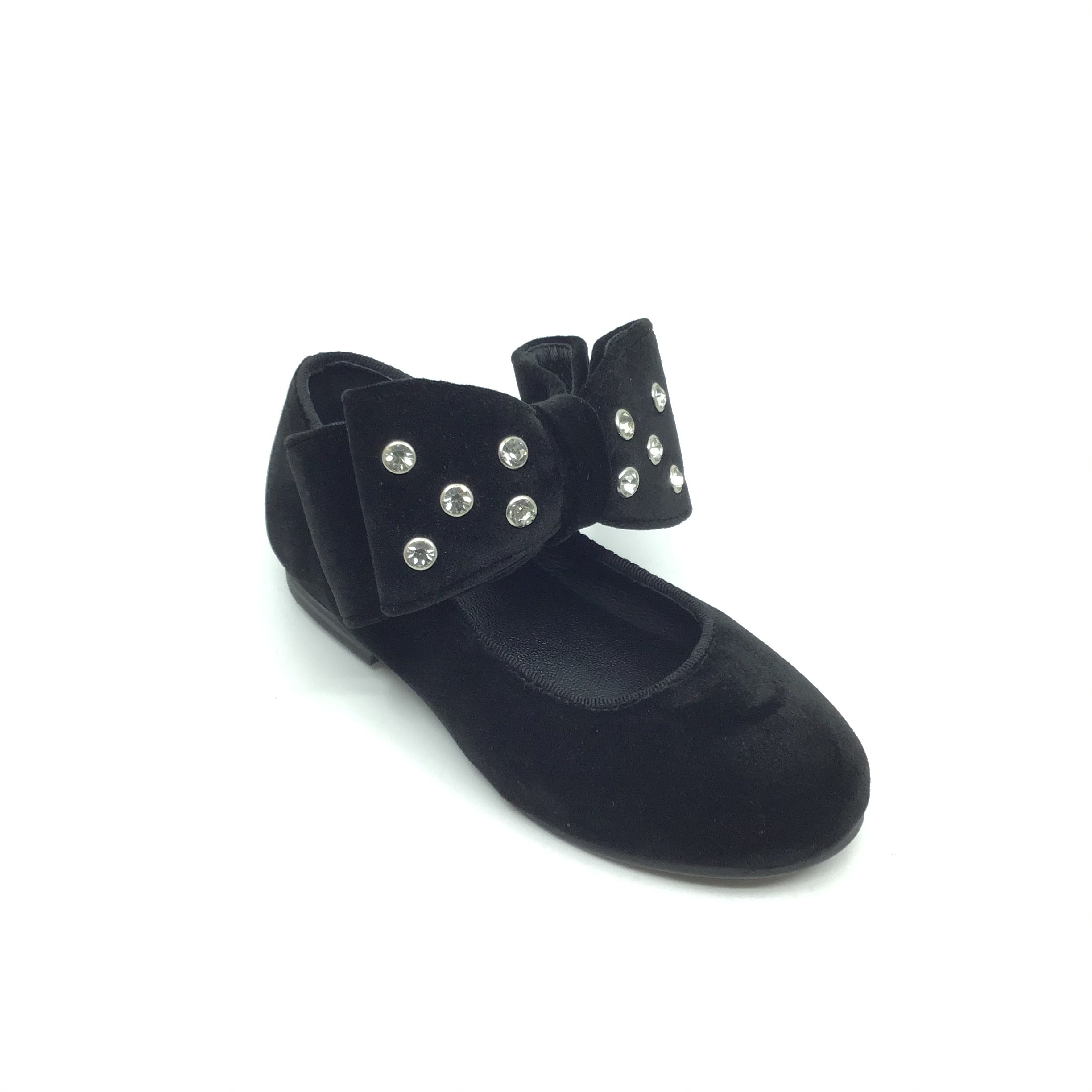 Luccini Black Velvet Shoe with Double Bow