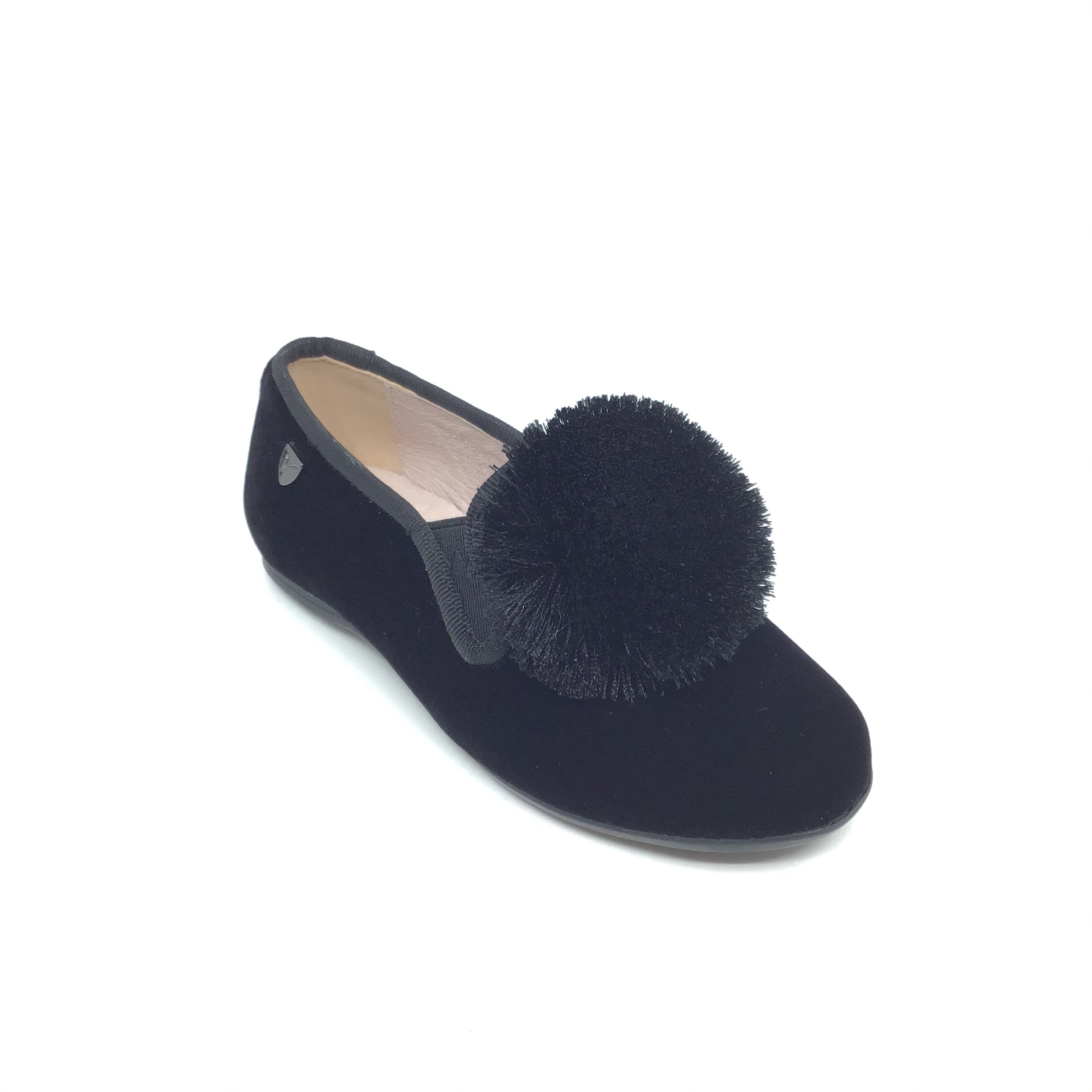 Venettini Black Velvet Slip On with Pom Pom
