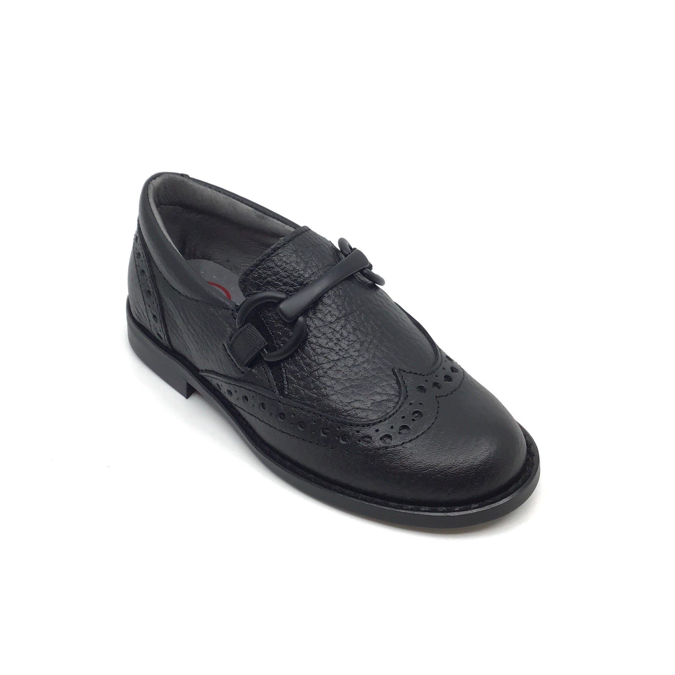 Blublonc Black Wingtip Shoe with Chain