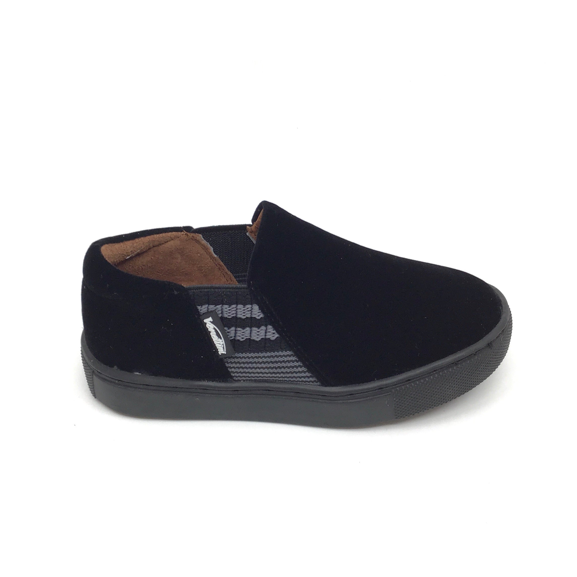 Venettini Black Velvet Elastic Slip On