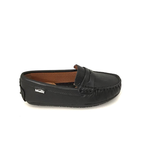 Venettini Black Penny Loafer with Texture