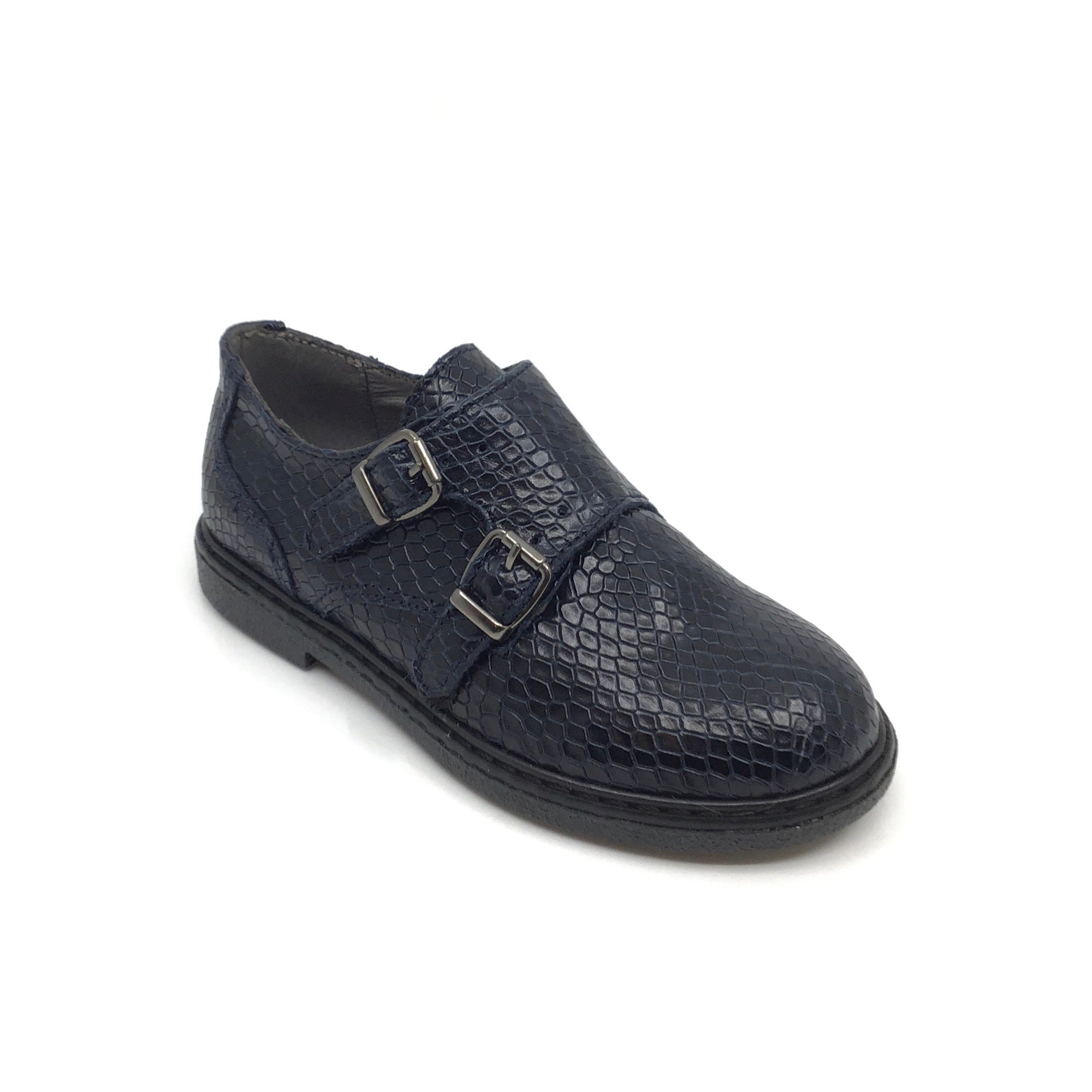 Blublonc Navy Snakeskin Double Buckle Dress Shoe