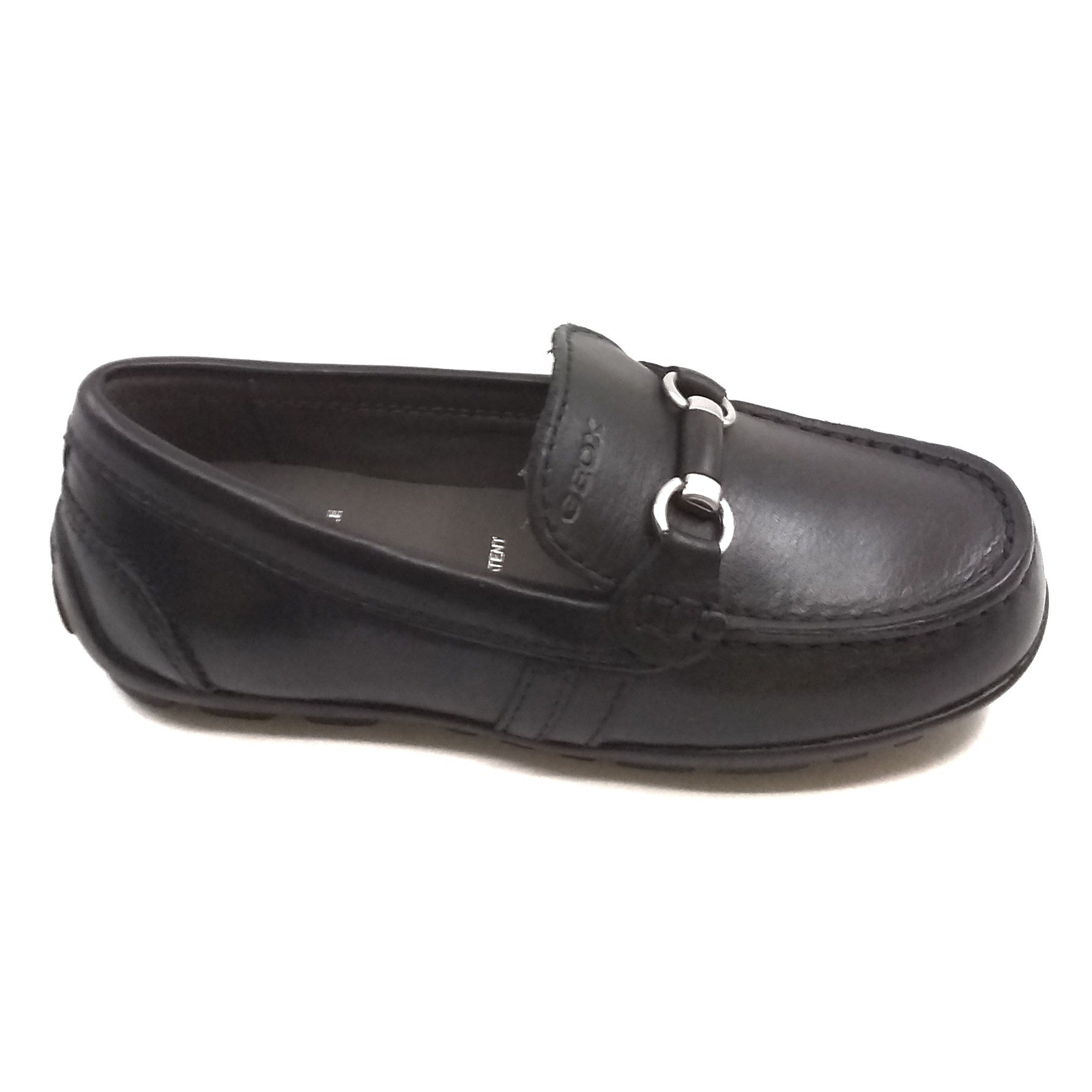 Geox Black Loafer With Silver And Black Buckle Across