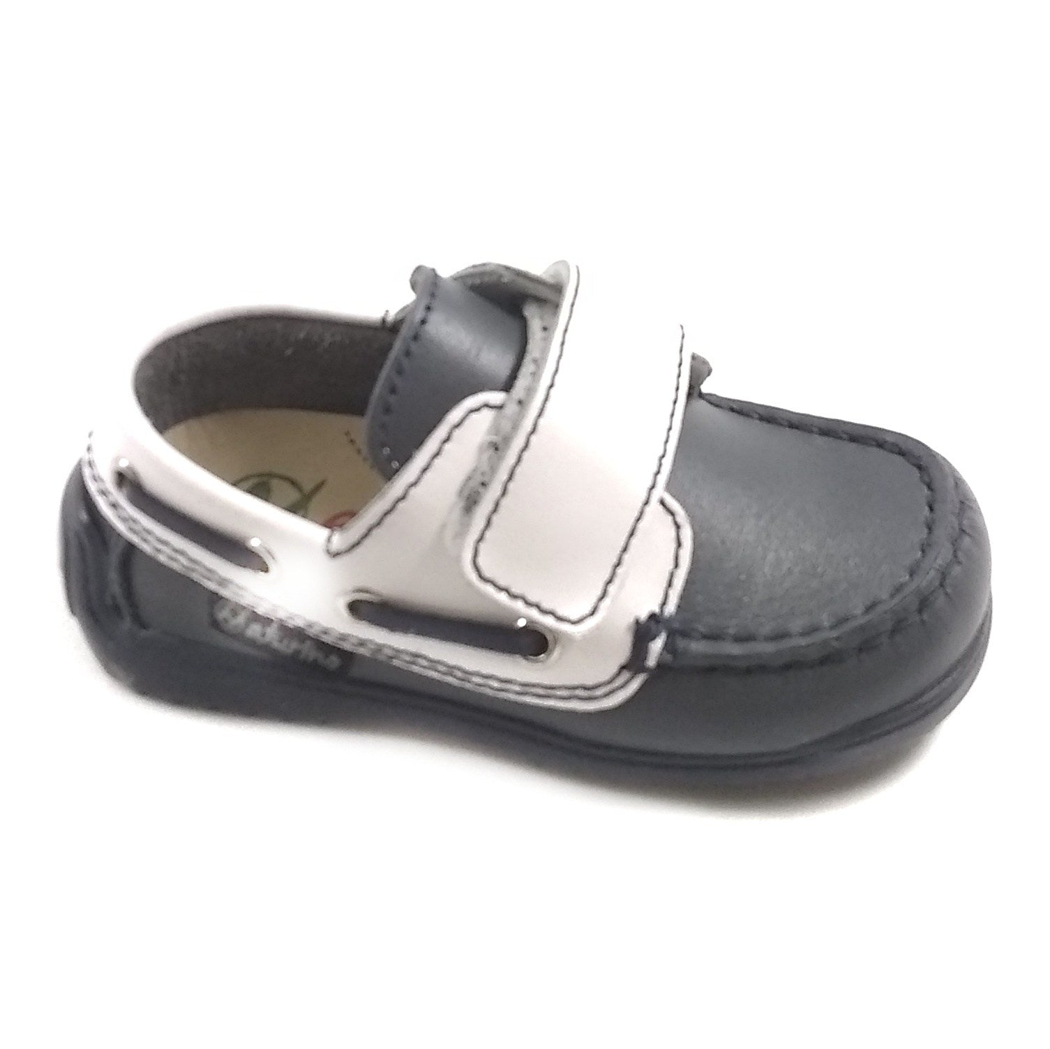 Naturino Gray Boat Shoe with White Velcro Strap