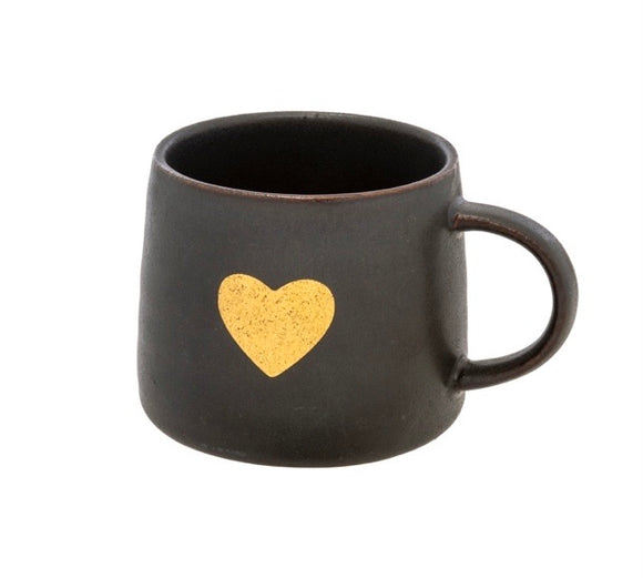 Black - Gold Heart Mug