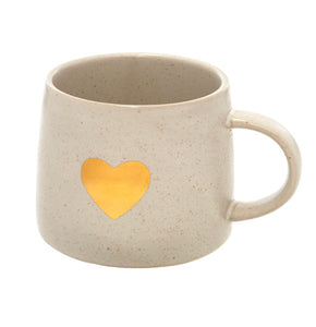 White - Gold Heart Mug