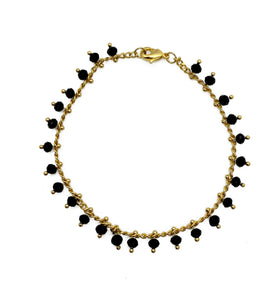 Black Beaded Chain Bracelet