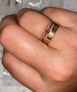 14K SOLID GOLD & RUBY RING