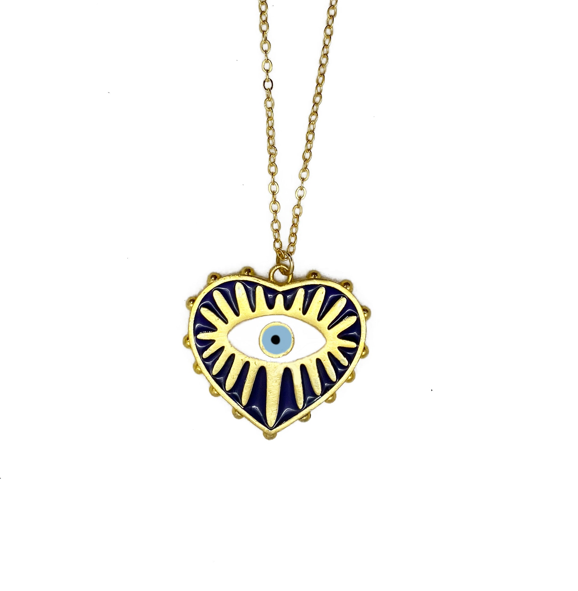 NAVY EVIL EYE NECKLACE