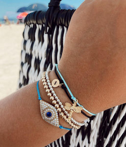 Crystal Evil Eye Slider Bracelet