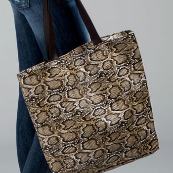FAUX SNAKE PRINT LEATHER SHOULDER BAG