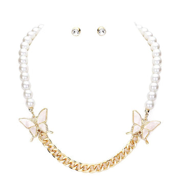 CELLULOID ACETATE BUTTERFLY ACCENTED PEARL NECKLACE AND EARRINGS SET