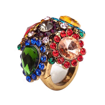 MULTICOLOR CRYSTAL ADJUSTABLE RING