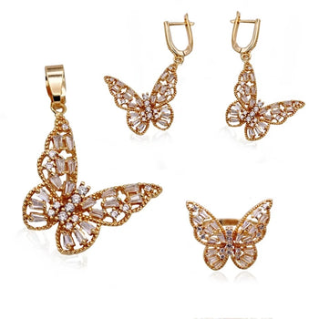 ZIRCON BUTTERFLY EARRINGS, RINGS AND PENDANT SET