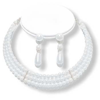 3-ROW PEARL NECKLACE AND EARRINGS SET