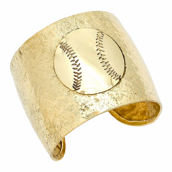 ADJUSTABLE HAMMERED METAL BASEBALL CUFF BRACELET