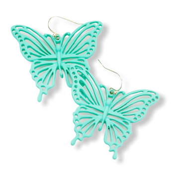 Cut Out Colored Metal Butterfly Dangle Earrings