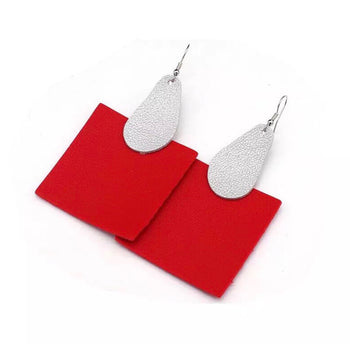 HANDMADE PU LEATHER SQUARE EARRINGS