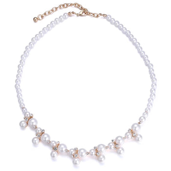 PEARL BEADED RHINESTONE NECKLACE