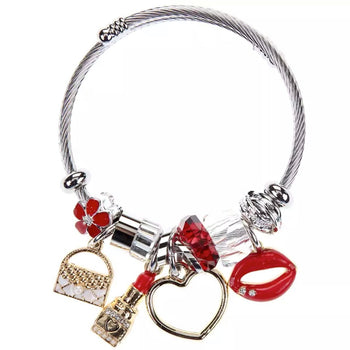 Stainless Steel Adjustable Charm Bracelet