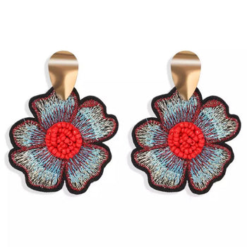 ETHNIC FLOWER DANGLE EARRINGS