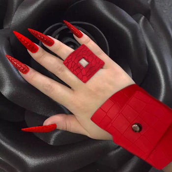RED CRACK LEATHER BRACELET AND RING SET