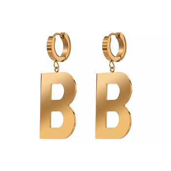 LETTER B STAINLESS STEEL DANGLE EARRINGS