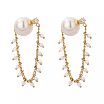 SIMULATED PEARLS CUBIC ZIRCONIA HOOP EARRINGS