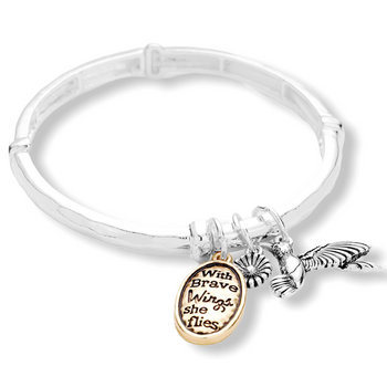 """WITH BRAVE WINGS SHE FLIES"" BIRD CHARM STRETCH BRACELET"